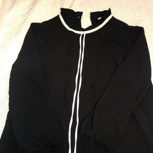 Black and White Button Collared Shirt